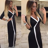 2016 Hot Selling Black Women Sexy Dress V Neck Long Sleeve Floor Length Party Dresses Plus