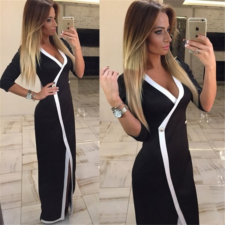 2018 hot selling black women sexy dress v neck long sleeve