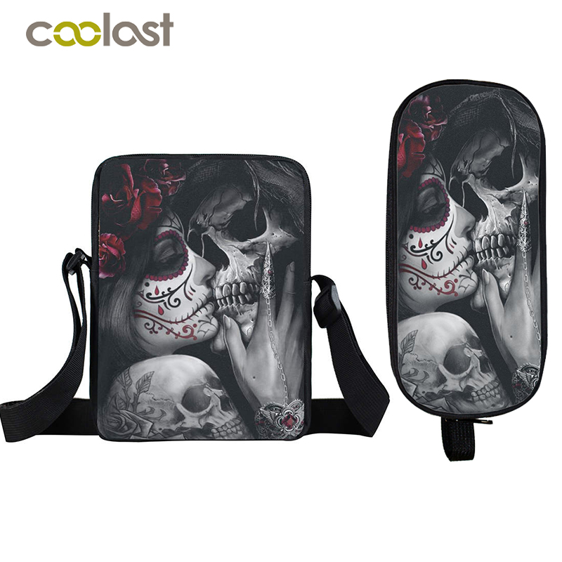 Us 7 47 45 Off Skull Crossbody Bag Punk Women Handbag Boys Pencil Holder Small Shoulder Bags Children School Kids Gift On
