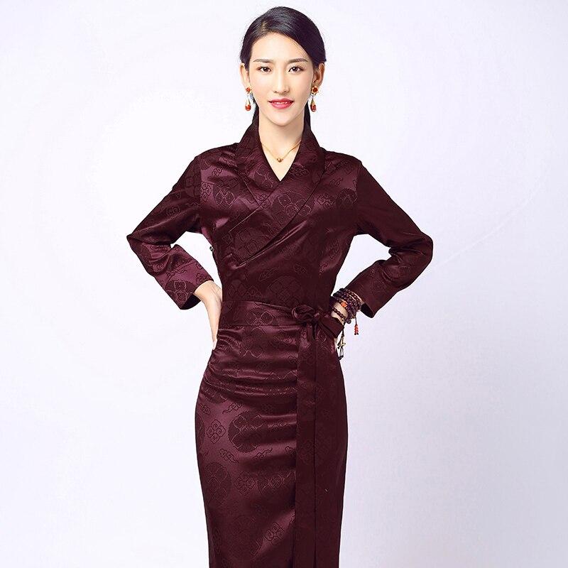 High Quality  Women's Tibetan Clothing Ethnic Style Tibetan Life Clothing Cotton Silk Lapel China Minority Tibet Long GOWN Robe