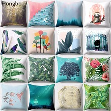 Hongbo 1 Pcs Tropical Rain Forest Flowers Leaves Pillowcase Home Textile Cushion Cover for Sofa Decor