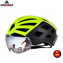 цена на KINGBIKE Magnetic Goggle Cycling Helmet Ultralight Integrally-molded Road MTB Bike Bicycle Helmet Lens Sunvisor Casco Ciclismo