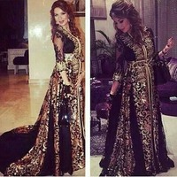 Mode prom jurk Arabische stijl gouden borduurwerk zwarte sexy zien door Kapel Trein avond feestjurk 2016