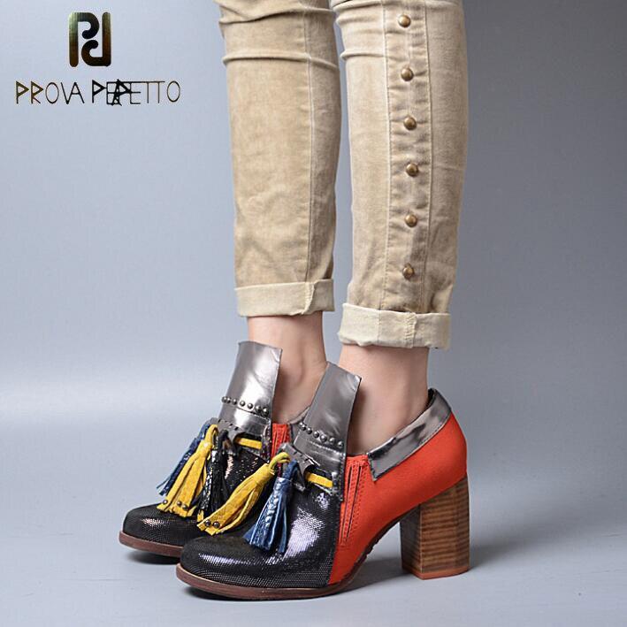 Prova Perfetto Пояса из натуральной кожи смешанных Цвет Ленточки заклепки Для женщин Насосы британский стиль квадратный каблук слипоны осень вес