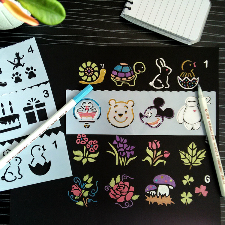 8pcs/set Cute Cartoon  Stencil Kids Drawing Pattersn Scrapbooking Dies Reusable Home Album DIY Drawing Tool