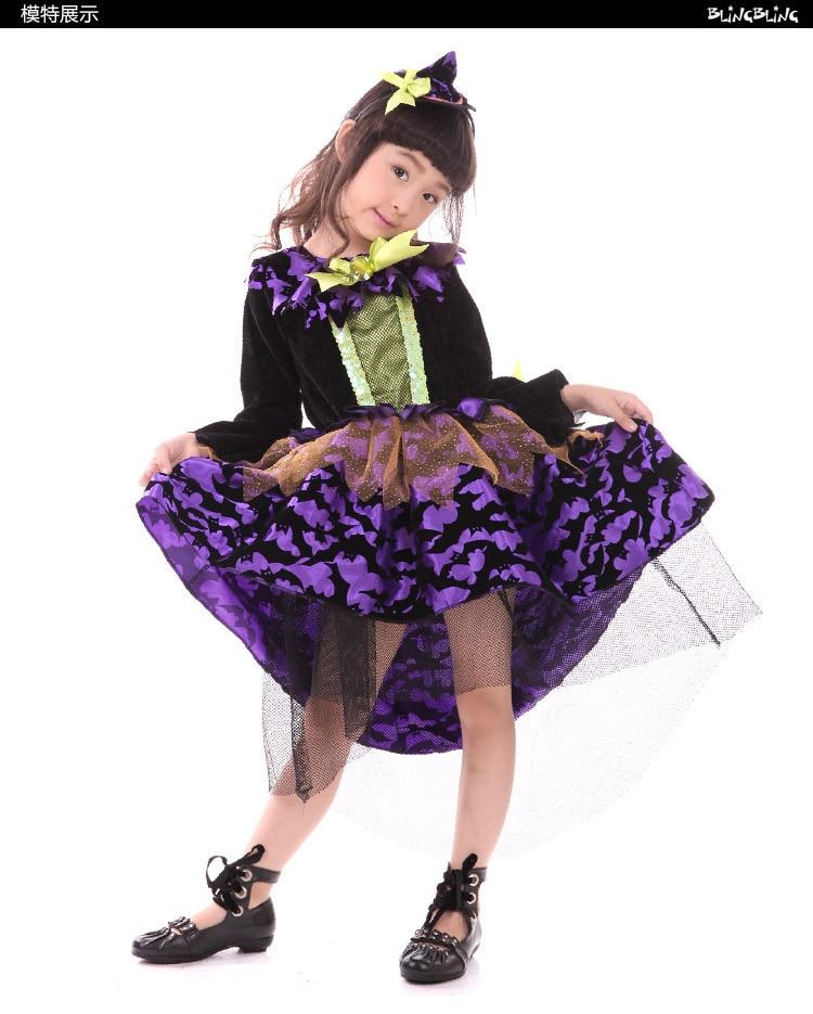 ᐂNiñas Halloween Cosplay púrpura bruja femenina vestido ropa de los ...