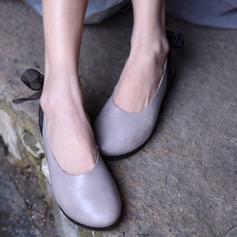 Artmu Original New Genuine Leather Lace Shallow Women Shoes Butterfly-knot Comfortable Soft Flat Sole Handmade Round Toe ShoesArtmu Original New Genuine Leather Lace Shallow Women Shoes Butterfly-knot Comfortable Soft Flat Sole Handmade Round Toe Shoes