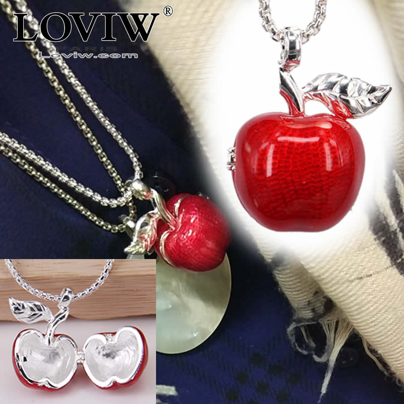European Locket Openable Red Apple Pendant Necklace Red enamelled New Fashion Bijoux Jewelry Gift For Women & Men silver chain