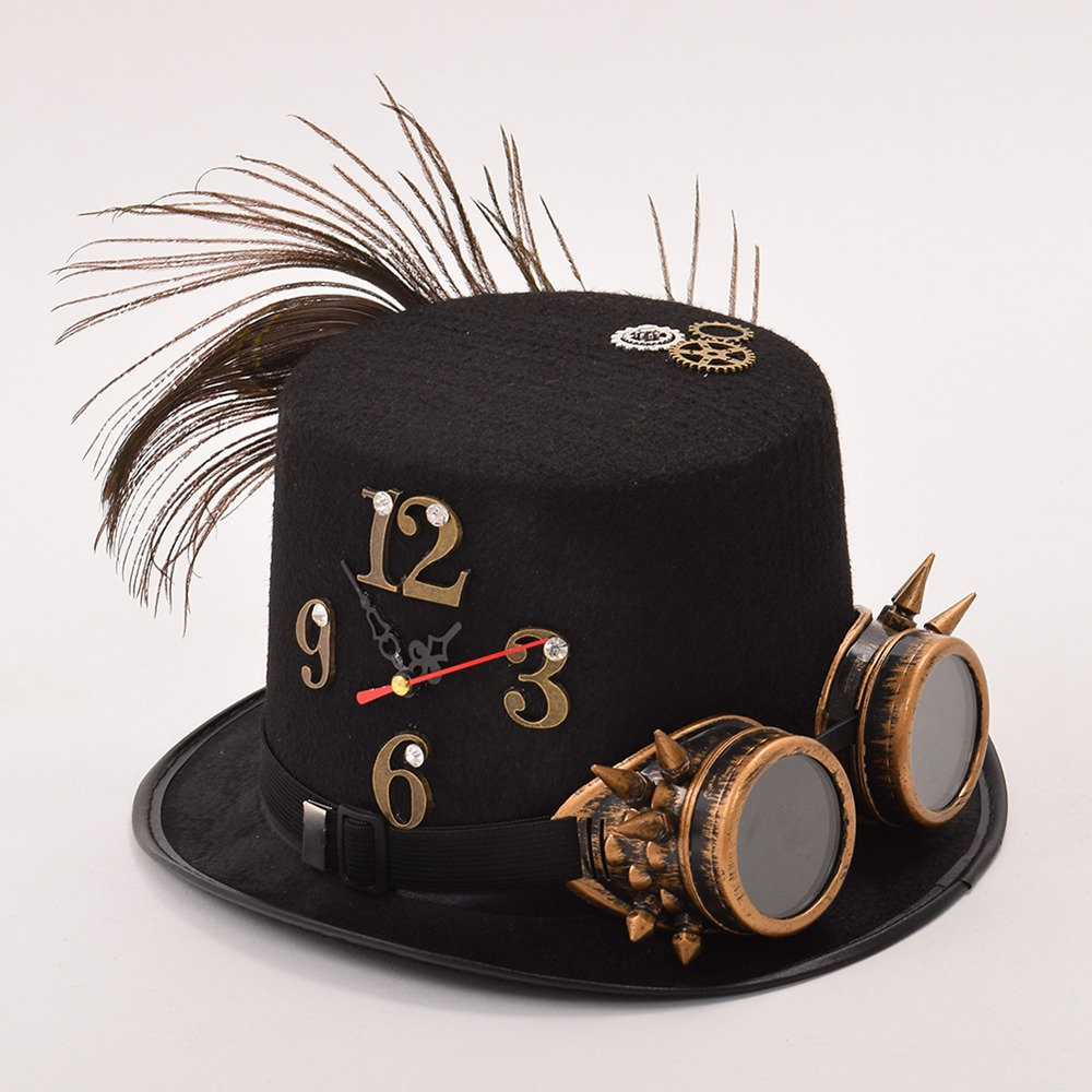 Black Punk Fedora Hat Unisex Man/Woman Glasses Gear Clock Halloween Party Top Hat