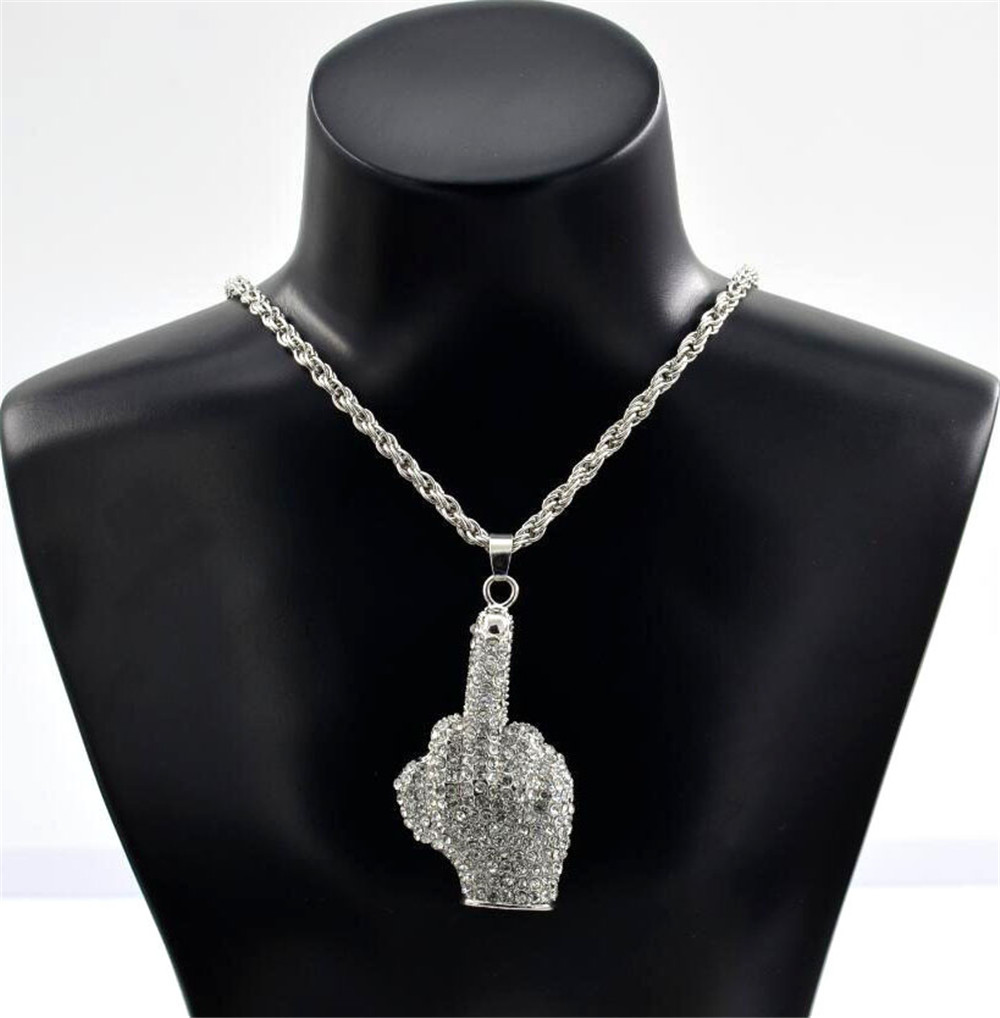 Iced Out Finger Pendant Necklace For Men AAA Zircon Pendant Necklace With Chain Rapper Hip Hop Jewelry