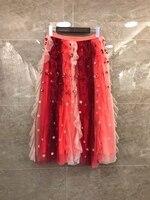 2019 Милая Новая модная женская одежда, подходящая газовая юбка с блестками 318