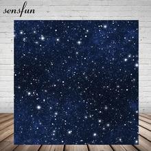 Sensfun Glitter Estrelas Pequenas Night Backdrop Para Estúdio de Fotografia Fundos 150cm x 220cm Vinil Azul Escuro Personalizado