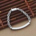 Handcrafted 925 Siilver Chain Bracelet Vintage Sterling Silver Longevity Bracelet Real Pure Silver Good Luck Bracelet