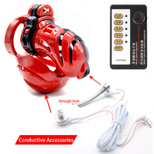 3D Design Male Electric Device Shock Cock Penis Rings Polyethylene Chastity Device Ball Stretcher Penis Ring Cage Adult Sex Toys stainless steel ball stretcher scrotum pendent penis locking rings male chastity device 600g f923