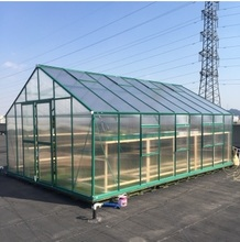 2.6m width Cold Frame HARDWARE Greenhouse in Aluminum Bracket Frame and Polycarbonate Panels with double Slide Door