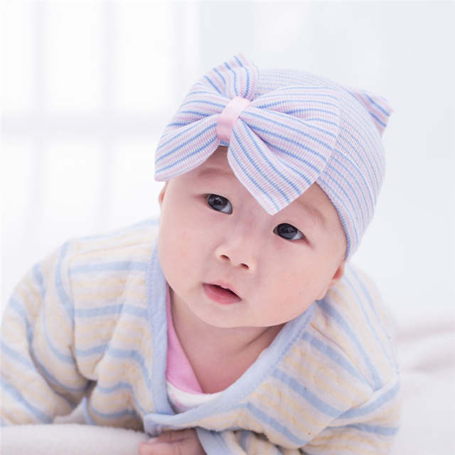942210c1253 placeholder 0-3 Months Hospital Newborn Baby Hats Cotton Beanie With Bow  Soft Knit Tire Striped