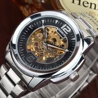 GOER fashion business men mechanical watches luxury brand men's skeleton bracelet steel band watches male silver case relojes