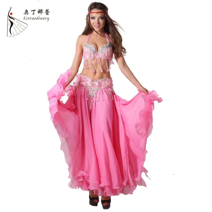 Performance Women Dancewear Professional 3pcs Outfit Bra+belt +skirt For Oriental Beads Costume Belly Dance Wj00047 S-xl