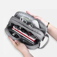 Double Layer Electronic Accessories Bag Tote Travel Hard Disk Drive HDD Carry Pouch USB Data Cable