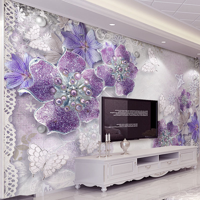 Custom Mural Romantic Purple 3d Swan Jewels Love Photo Wallpaper