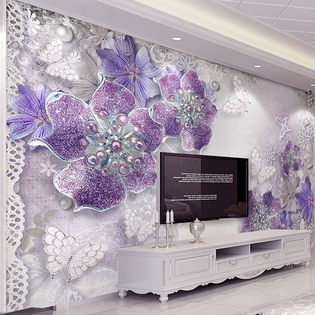High Quality Custom 48D Stereoscopic Purple Flowers Bedroom Wallpaper Adorable Bedroom Wallpaper Designs