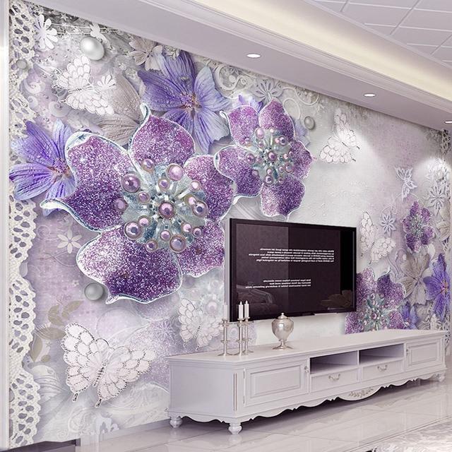 High Quality Custom 3D Stereoscopic Purple Flowers Bedroom