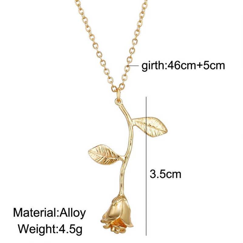 新ファッション繊細なローズフラワーペンダントネックレスチャームゴールドシルバー美容支店花のネックレス女の子 AN157
