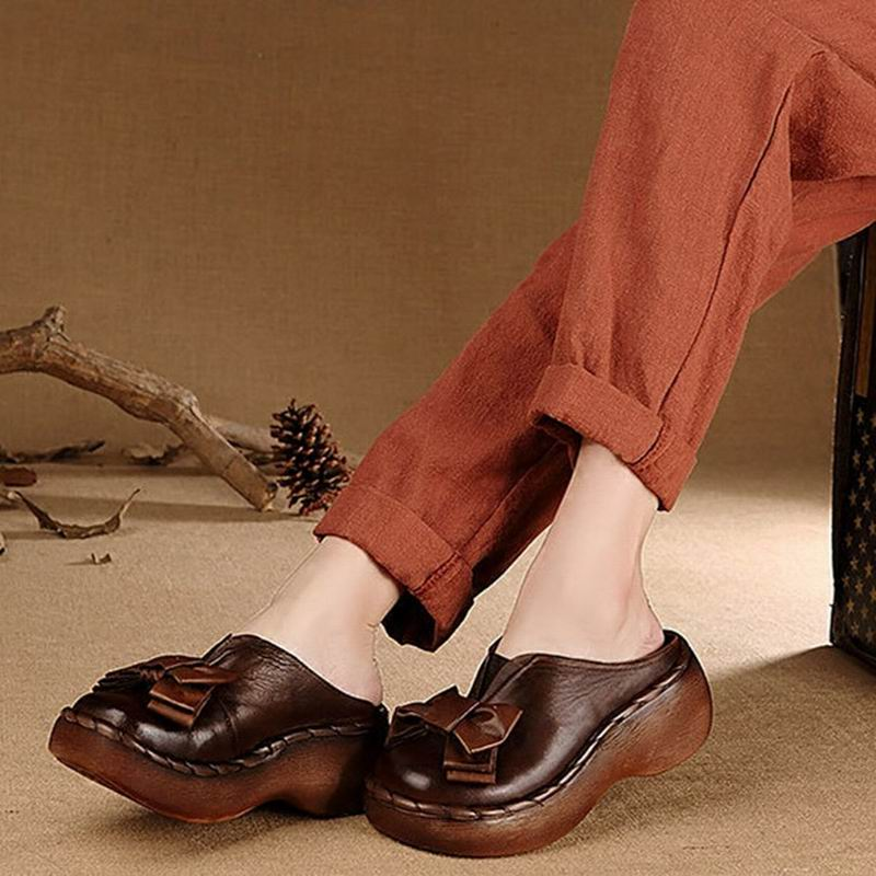 Genuine Leather Women Sandals Handmade Bowtie Platform Wedges Cowhide High Heel Summer Shoes Round Toes Comfotable