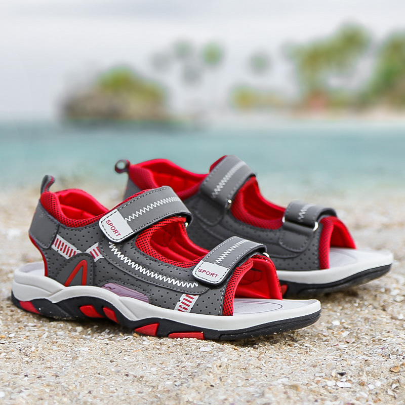 2018 Boys Sandals Kids Shoes Genuine Cow Leather Childrens Shoes Big Boys Beach Sandals Sport Shoes sandalia infantil kids