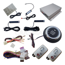 Car Alarm System PKE On Off By Remote Control Passive Keyless Entry Push Button Start Stop Remote Engine Start Password Keyboard remote engine start stop passive keyless entry car alarm kit 433 92mhz push button start stop and touch password entry
