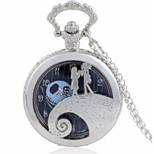 Antique Black Nightmare Before Christmas Theme Pocket Watch Vintage Steampunk Pendant Necklace