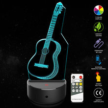 New music guitar style 3D LED Night Light illusion Novelty Table Desk Lamp Birthday Christmas Gift for Child Kids Home Decor