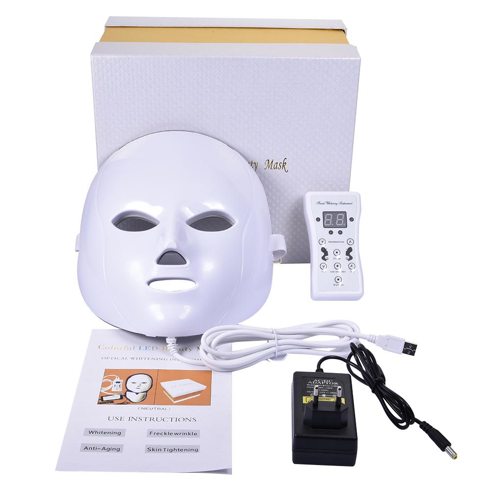 Led Mask Photon Electric LED Facial 7 Colors With Neck Skin Rejuvenation Anti Wrinkle Acne Therapy Salon Tool