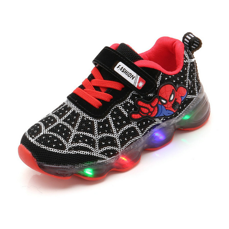 Cartoon Fashion Spiderman Kids Shoes With Light Air Mesh Children Luminous Sneakers Boy Girl Led Light Sport Shoes Size 21-30