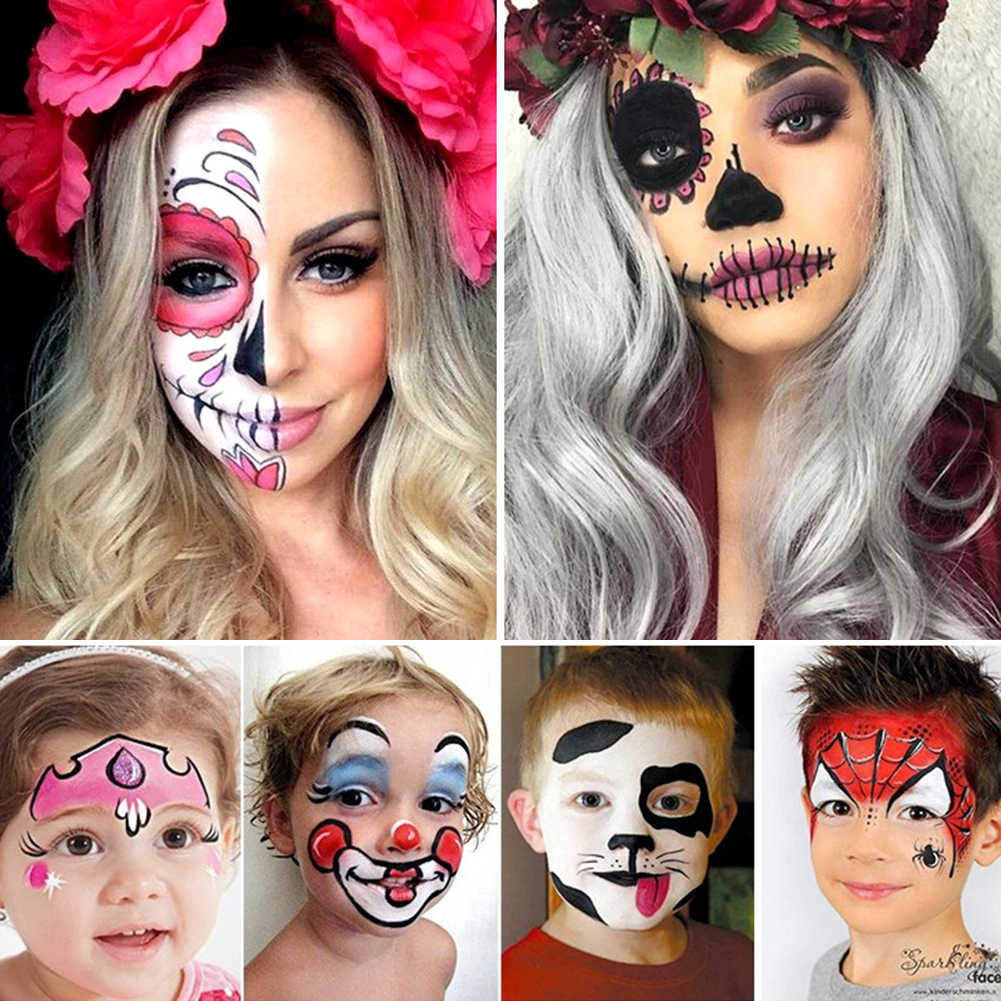 Fashion Halloween Professional Masquerade Body Paint Tattoo Inks Theater Clown Waterproof Face Body Paint 12 Color Pigment Tslm1