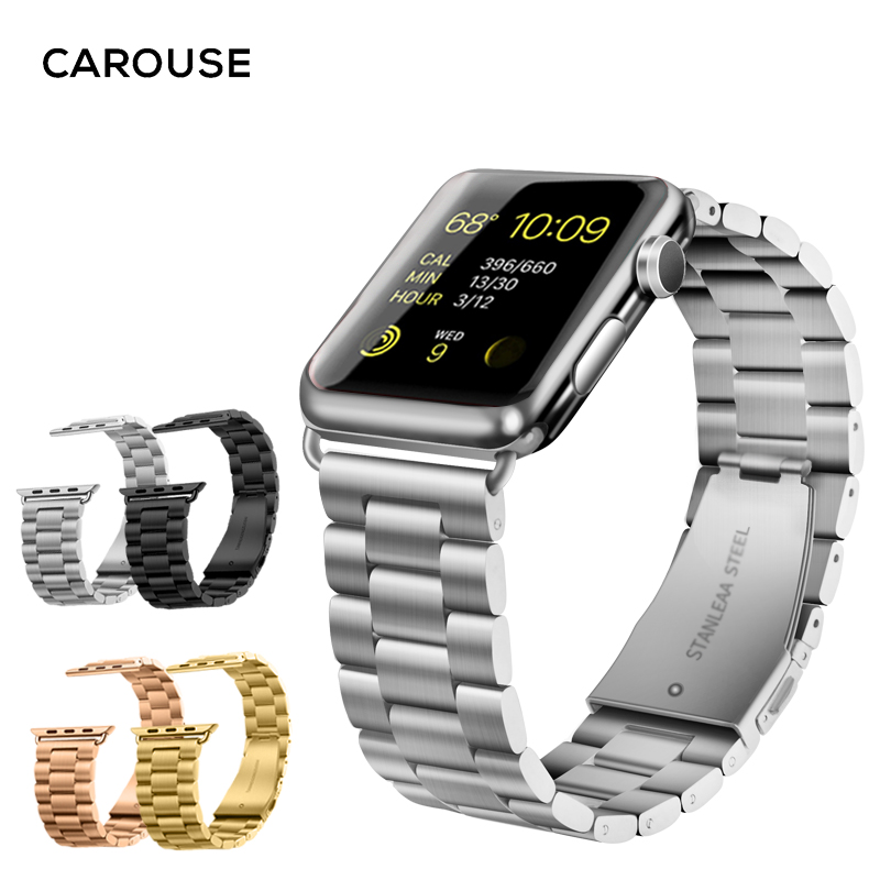Carouse Sport Strap for Apple Watch Band Series 3/2/1 Magnetic Buckle 38mm 42mm Stainless Steel Metal Watchband For iwatch Band
