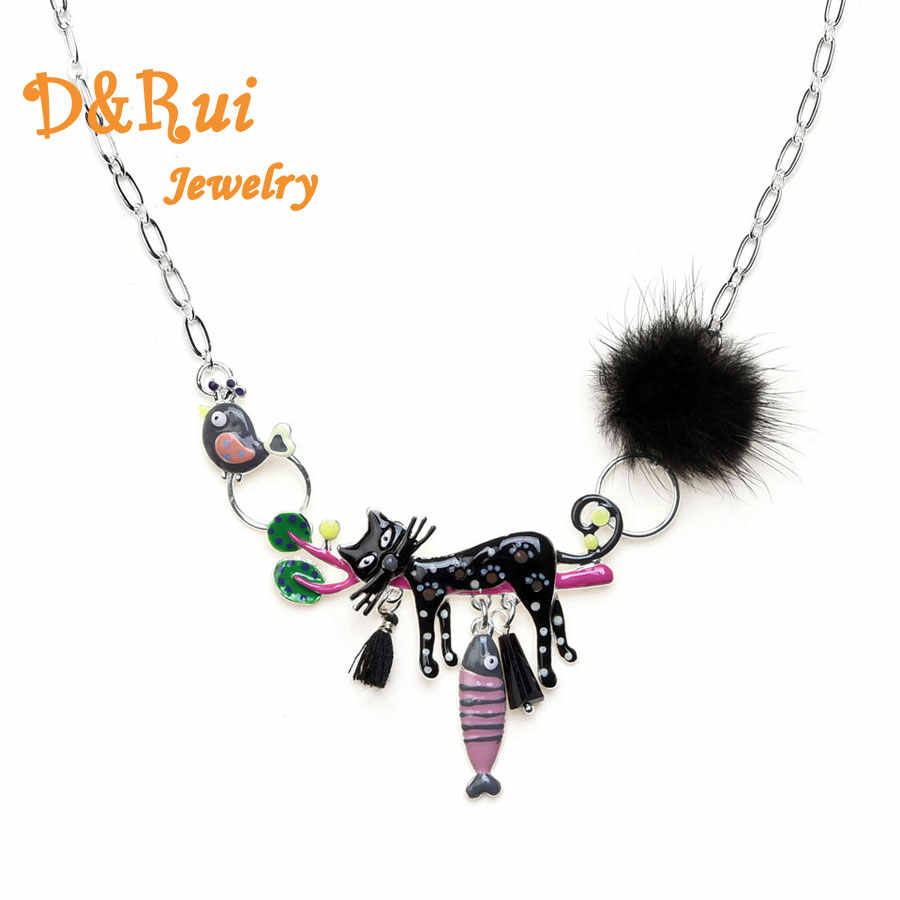Enamel Lazy Cat Necklaces & Pendants Bright Colors Tassels Fluffy Fish Bird Branch Pendant Necklace Women Cartoon Animal Jewelry