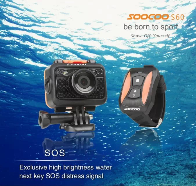 Original SOOCOO S60 WiFi Sports Action Camera Diving Waterproof 1080P Full HD Sport Camera with Remote Control 1.5  LCD Camera 2017 arrival original eken action camera h9 h9r 4k sport camera with remote hd wifi 1080p 30fps go waterproof pro actoin cam