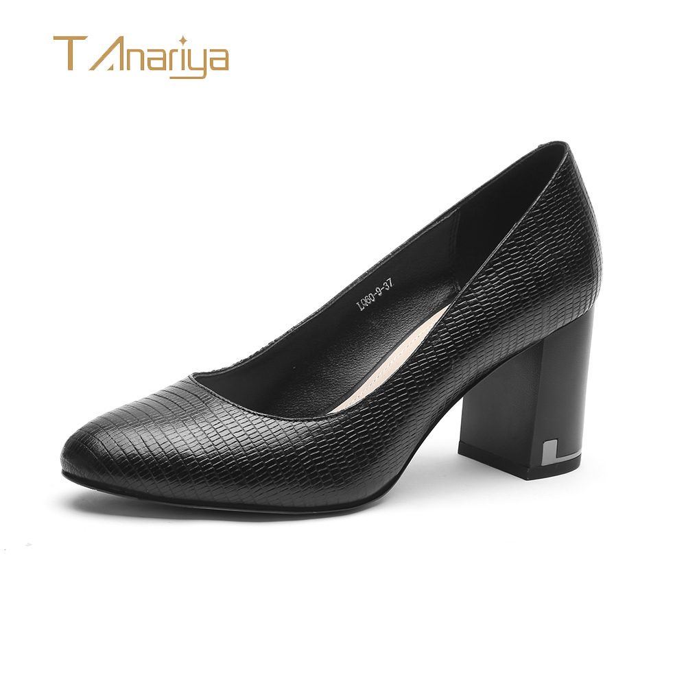 Tanariya New 2019 Spring And Autumn Leather Shoes With Round Head And Thick Heel Ladies High Heels Women Shoes Woman Pumps