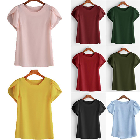 Summer Women Chiffon Blouse Short Sleeve Red Ladies Office Ladies Shirts Plus Size Work Top Plus Size Casul Female Clothing W3 Lahore