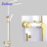 Dofaso Vintage Gold White Shower Set European Style Brass Mixer Tap Wall Mounted Valve Shower Faucets