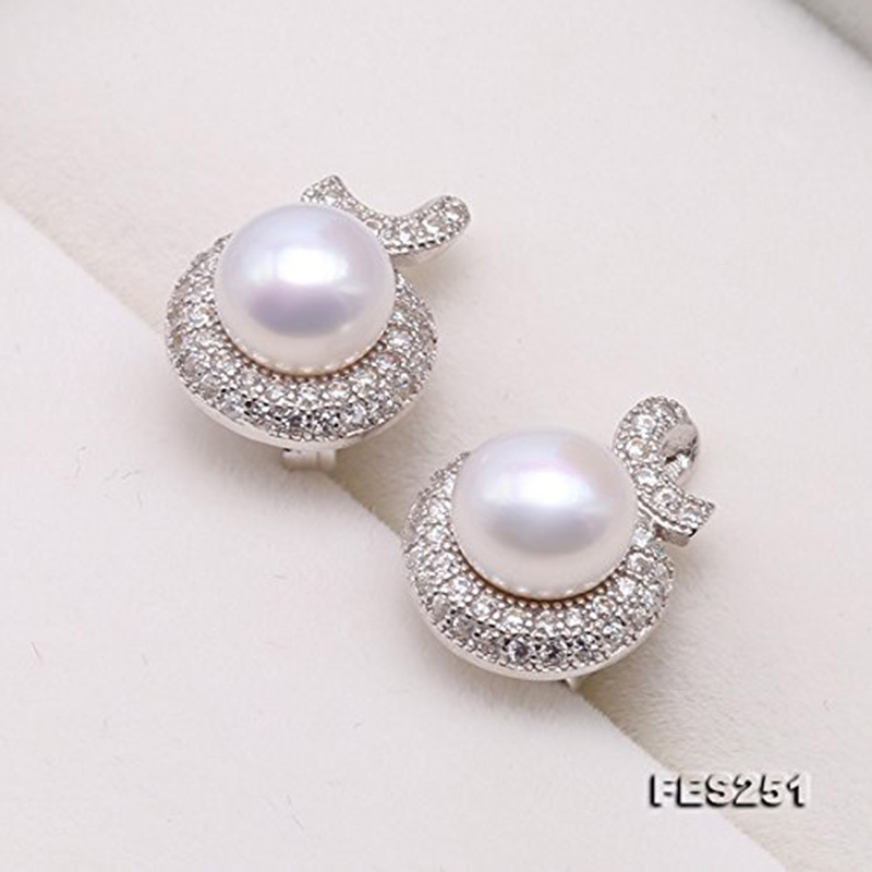 JYX Elegant Sterling Silver 7.5mm White Flatly Round Freshwater Pearl Stud Earrings silver earring jewelry giftJYX Elegant Sterling Silver 7.5mm White Flatly Round Freshwater Pearl Stud Earrings silver earring jewelry gift