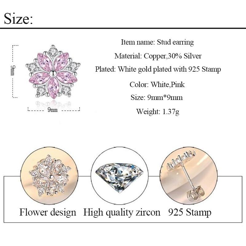 Luxury Small Flower Stud Earrings for Women Girls Fashion Kpop Pink White Cubic Zirconia Crystal Earring Minimalist Jewelry Gift