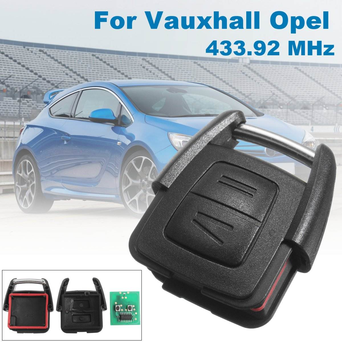 New 433 92MHz 2 Button Remote Control Key Shell w Circuit Board For Vauxhall Opel Astra