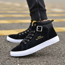 2017 Men Flock Casual Shoes Korean Fashion Style Winter Autumn Flats Shoes Men Lace-Up High Top Shoes Male Street Buckle Boots