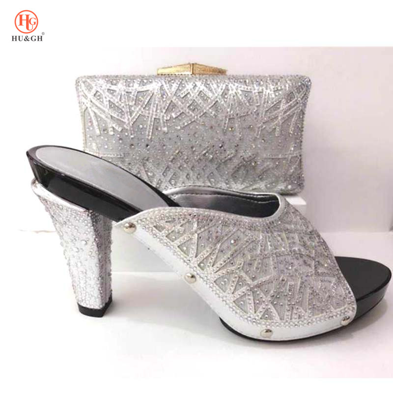 Wedding Silver African Shoe and Bag Set For Party Women Shoes and Bag Set In Italy Design Italian Shoes with Matching Bag Set capputine african shoes and bag matching set with crystal hot selling women italian shoes and bag set for wedding dress bl735c