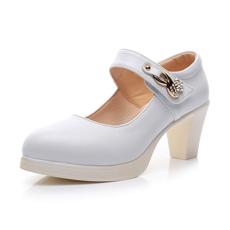 Women s Genuine Leather Shoes with Heels 2019 Spring ankle Strap Pumps Women Medium Heel Wedding