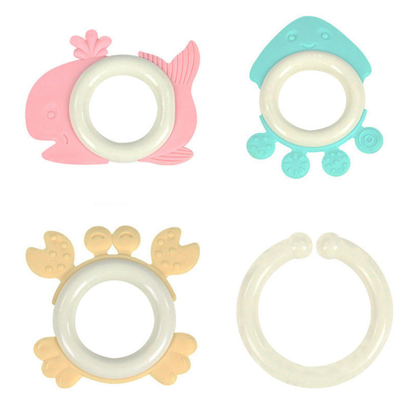 4pcs/set Baby Mitts Teething Mitten Fruit Marine Life Shape Teethers Toy Gifts Newborn Nursing Mittens Teether