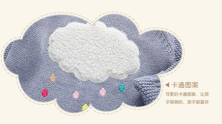 Nieuwe winter cartoon baby meisjes trui cloud regendruppels kids kleding kinderen trui warm lange mouwen voor meisjes knitwear