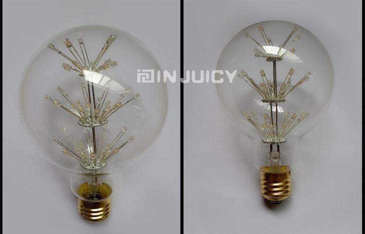 Wholesale G95/G125 E27 LED 3W AC220V-240V Edison Ball Chritmas Tree Star light Lamp Glass Bulb Cafe Bar Party Coffee Shop
